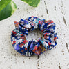 Kimono Fabric Scrunchie Plum Blossoms in Blue Gold Multi