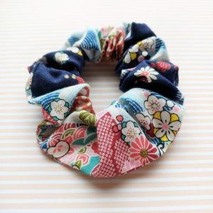 Kimono Fabric Scrunchie Plum Blossoms in Blue Multi - Closeup