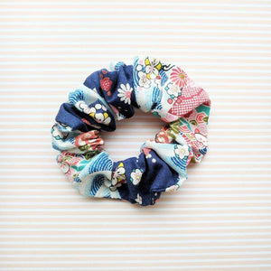 Kimono Fabric Scrunchie Plum Blossoms in Blue Multi