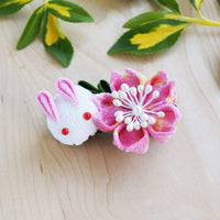 Cherry Blossom and Moon Bunny Hair Clip - Kimono Hair Accessories