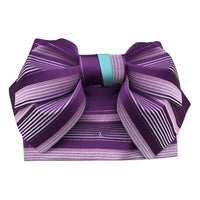 Pre-Tied Obi Belt - Purple Stripes
