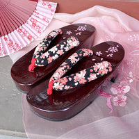 Geta Sandals for Women - Cherry Blossoms Black