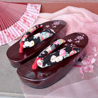 Geta Sandals for Women - Black Cat and Flowers