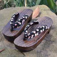 Geta Sandals for Women - Floral Black