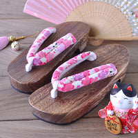 Geta Sandals for Women - Lucky Cat Cherry Blossoms White