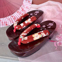Geta Sandals for Women - Red Cherry Blossoms