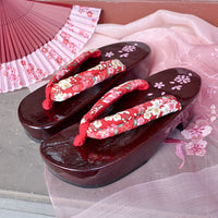 Geta Sandals for Women - Red Cherry Blossoms and Plum Blossoms