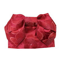 Pre-Tied Obi Belt - Dark Red Camellia