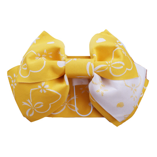 Pre-Tied Obi Belt - Heart and Bow Yellow