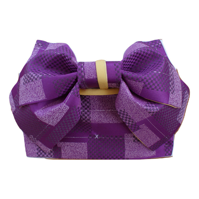 Pre-Tied Obi Belt - Purple Checkered