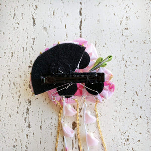 Summer Breeze Fan and Plum Blossoms Dangle Hair Piece for Kimono - Back