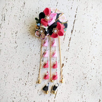 Summer Breeze Fan and Plum Blossoms Dangle Hair Piece for Kimono - Red Black