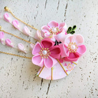 Summer Breeze Fan and Plum Blossoms Dangle Hair Piece for Kimono - Closeup