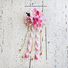 Summer Breeze Fan and Plum Blossoms Dangle Hair Piece for Kimono - Dimensions