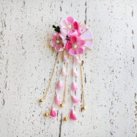 Summer Breeze Fan and Plum Blossoms Dangle Hair Piece for Kimono - Pink