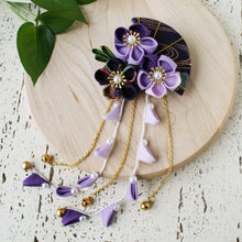 Summer Breeze Fan and Plum Blossoms Dangle Hair Piece for Kimono - Purple