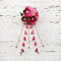 Summer Breeze Fan and Plum Blossoms Dangle Hair Piece for Kimono - Red