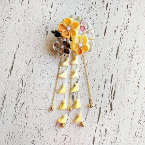 Summer Breeze Fan and Plum Blossoms Dangle Hair Piece for Kimono - Yellow