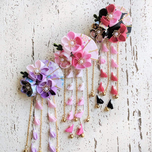 Summer Breeze Fan and Plum Blossoms Dangle Hair Piece for Kimono