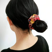 Fabric Scrunchie - Flowers in Red Back - Kimono Hair Accessories