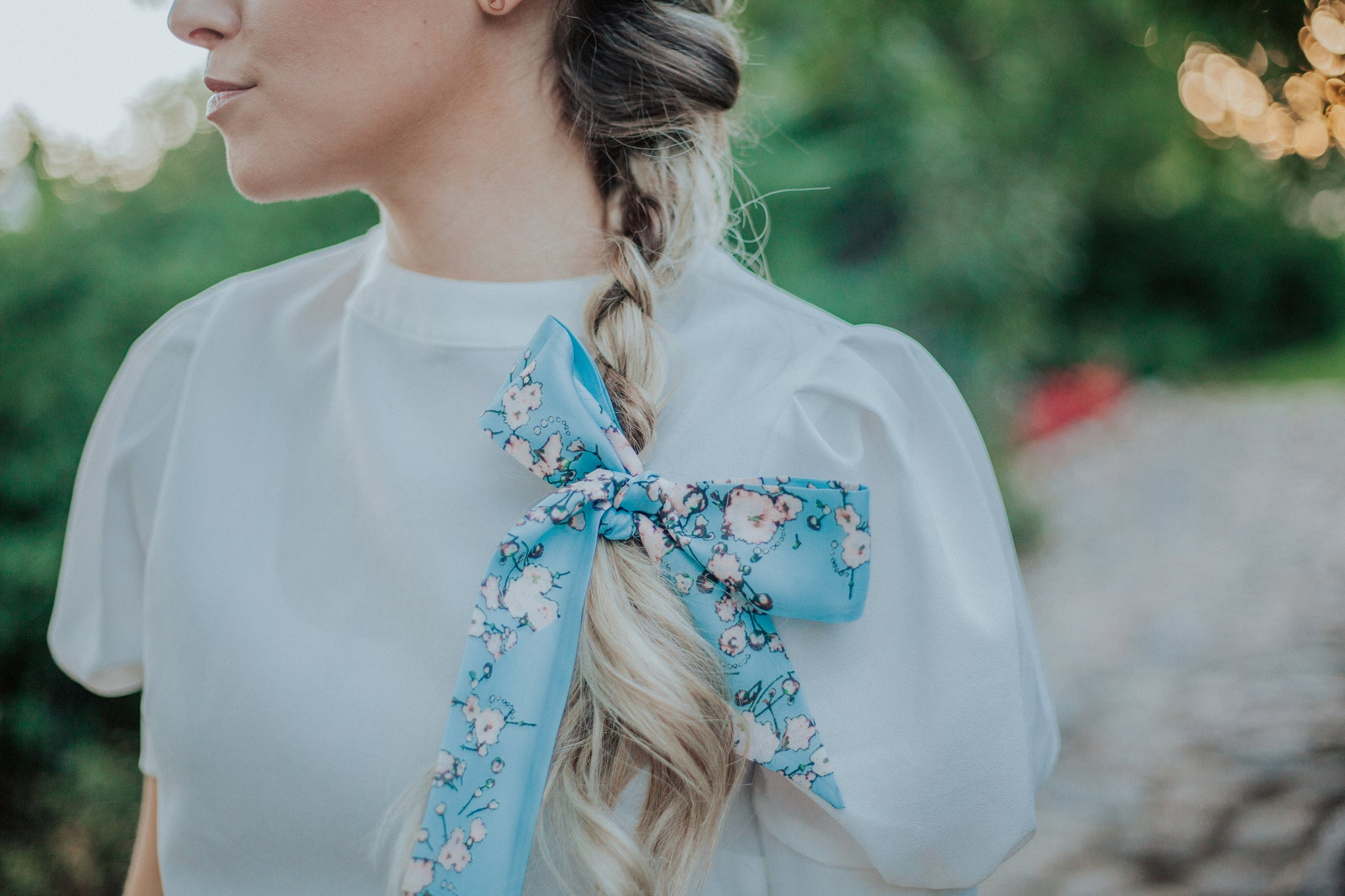 Floral Scarf in Baby Blue