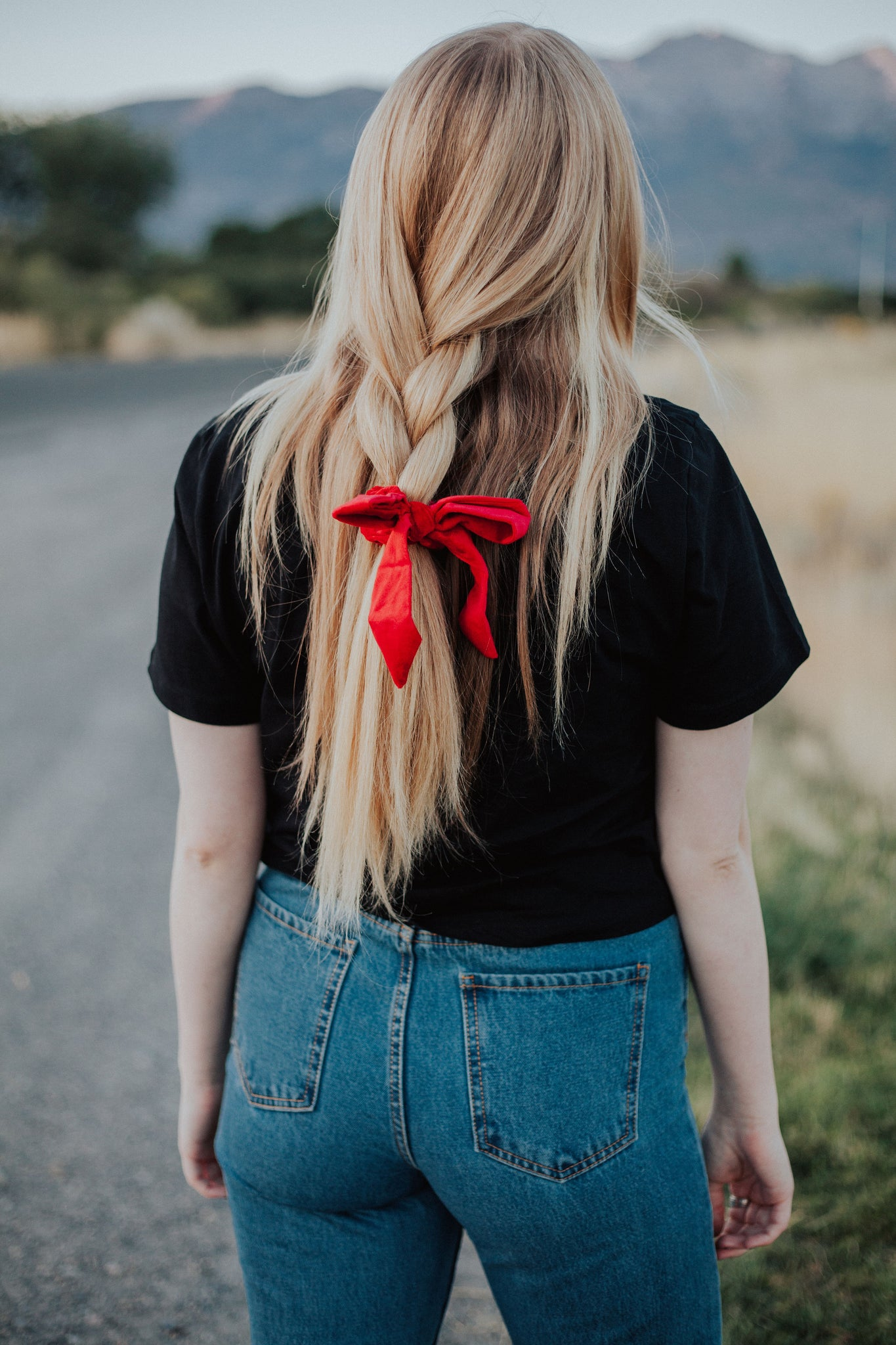 Velvet Srunchie in Red