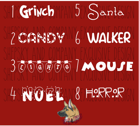 Name Only: Popular ( Holiday ) Fonts