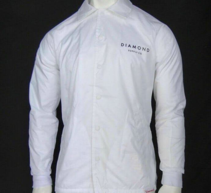 Diamond Supply Co Stone White Men's Coaches Bottom Up Jacket