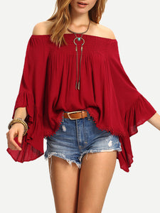 Red Off the Shoulder Bell Sleeve Top
