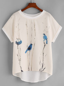 White Shirt with Blue Birds