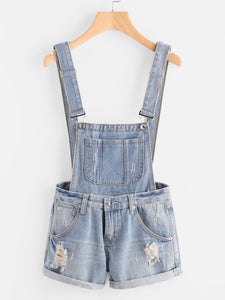 Distressed Cuffed Denim Overalls