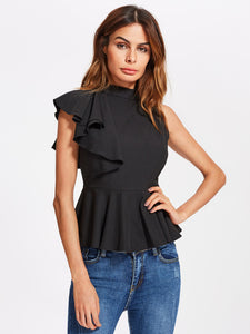 One side Flounce Sleeve Peplum Top in Black