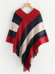 Poncho Red and Navy Bold Stripe Sweater