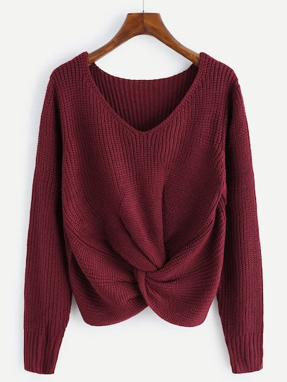 V-Neck Twist Front Knit Sweater. Color wine.
