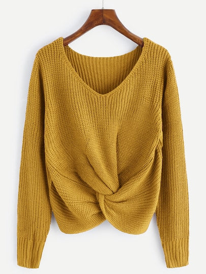 V-Neck Twist Front Knit Sweater. Mustard color.