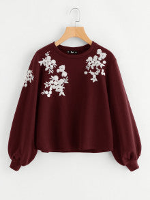 Burgundy Embroidery Pullover Sweatshirt