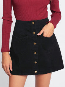 Black Button Up Denim Skirt