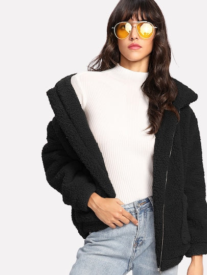 Dual Pocket Faux Fur Teddy Jacket- Black