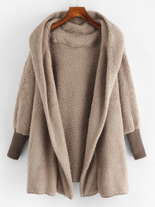 Hooded Camel Color Brown Open Front Fluffy Jacket