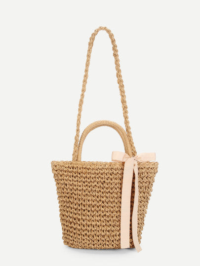 Straw Crossbody Bag with Bow Accent