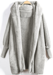 Hooded Light Grey Open Front Fluffy Jacket