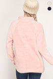 Long Sleeve Soft Fleece Pullover Top With Pockets & Quilted Front Section-Light Pink