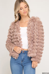 Long Sleeve Faux Fur Mocha Jacket