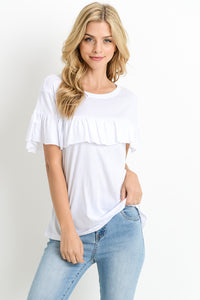 White Soft Tee with Ruffle Accent