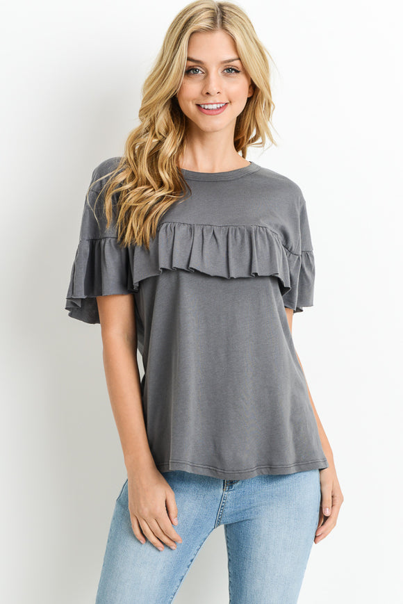 Gray Soft Tee with Ruffle Accent