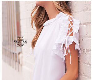 White Ruffle Top