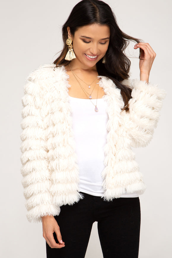 Long Sleeve Faux Fur Cream Jacket