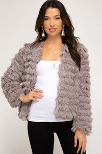 Long Sleeve Layered Faux Fur Jacket Gray