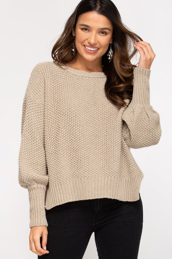 Mocha Colored Sweater with Side Slits