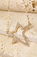 Jewelry Necklace Gold Open Star & Pave Rhinestone Necklace